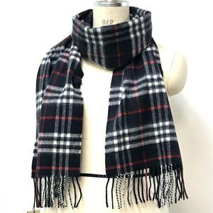 AAuthentic BURBERRY check Scarf Cashmere Navy Red